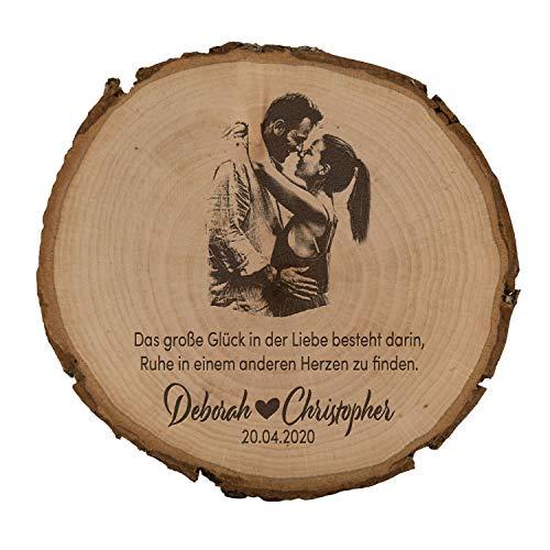 unique present® Baumscheibe mit Fotogravur - Motiv Großes Glück - Schönes Geschenk mit Foto auf der Holzscheibe - Echtes Naturholz aus heimischen...