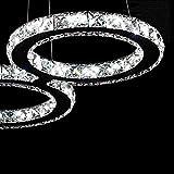 DJY-JY Lámparas Pendientes de Cristal del Techo de luz, los Cristales de Las lámparas Led 24W Anillo de Diamante del Acero Inoxidable de la lámpara faroles Colgantes Lámparas Cristal Ajustables, A