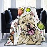 Manta cálida de forro polar para perro, de Portrait of Pit Bull Terrier ultra suave, para cama, sofá, sala de estar