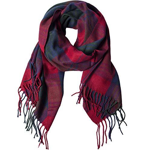 Damen Winter Schal Kariert übergroßer Quadratisch Deckenschal, Karo Tartan Streifen Plaid Muster XXL Oversized Fransen Poncho (3#)