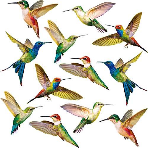 Blulu Kolibri Fenster Haftet Vogel Fenster Aufkleber Anti-Kollision Fenster Haftet Abziehbildern an, um Vogelschläge auf Fenster Glas (18 Stücke)
