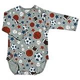 【未熟児】【低出生体重児】【早産児】【NICU】用 ベビー服: 長袖ロンパース スポーツ (2300-3000g)