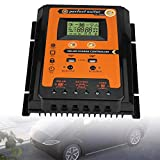 eecoo Driver de Carga Solar de MPPT Pantalla LCD de Cristal Líquido Controlador Solar, Controlador de Carga y Descarga Solar con Doble Puerto USB 2.4V 12V/24V Identificación Automática(50A)