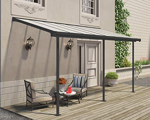 Palram Hochwertige Aluminium Terrassenüberdachung, Balkondach, Terrassendach Sierra 230x447 cm (TxB) Grau