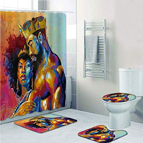 4 PC-Sets African American King und Queen Duschvorhang Mit Anti-Rutsch-Teppiche, Toilettendeckel Deckel Und Badvorleger, Duschvorhang, Durable Wasserdichten Duschvorhang