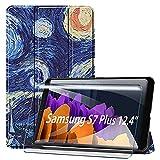 HYMY Funda + 1PCs Vidrio Templado Protectores Pantalla para Samsung Galaxy Tab S7+/S7 Plus 12.4' T970 / T975 / T976, Protector de Pantalla with PU Flip Cover Case Carcasa -XK