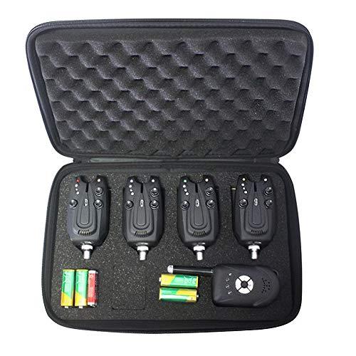 Mounchain Juego de alarma de picada de pesca 4 + 1, alarma inalámbrica digital con 4 emisores y 1 receptor