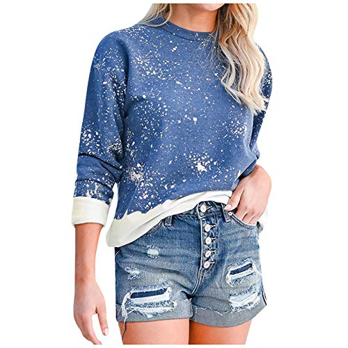 WYZTLNMA Womens Tie Dye Sweatshirt Ladies Pullover Tops Autumn Long Sleeve Loose Jumper Casual Female O-Neck Sweatshirt Blue