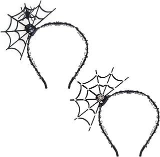 Halloween Spider Web Headband Spider Rhinestone Spiderweb Headbands Hair Band Headpiece Women Girls Rose Lace Hairband Hair Hoop Party Decoration Cosplay Costume Cute Hair Accessories 2 Pack Mixed