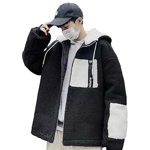 Bormran ボアジャケット メンズ ボアブルゾン フリースジャケット ジャンパー ジャケット ボアコート アウター もこもこ 防寒 厚手 パーカー 冬服 (XL, ブラック)