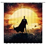 AdaCrazy Magic Duschvorhang Superman Explosion orange schwarz grau cool 71x71inch hochwertigem Polyester wasserdichtes Gewebe Duschvorhang einschließlich 12 Kunststoffhaken