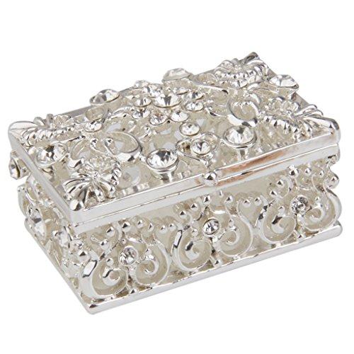 yotijar Caja de joyería chapada en plata con cristales y anillos