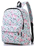 Canvas Travel Backpack for Women and Teens (Flower Blue Medium)