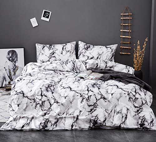 AShanlan Ropa de cama 155 x 220 gris y blanco, diseño de mármol, funda nórdica de 2 piezas, 100% microfibra jaspeada, juego de funda nórdica con cremallera, funda de almohada de 80 x 80 cm