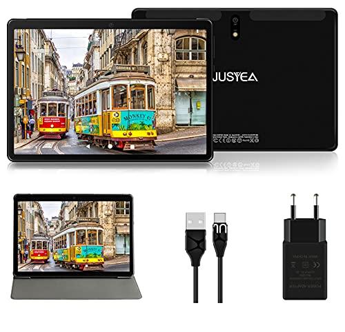 Tablet 10.1 Pulgadas Android 10.0 Tableta Ultra-Portátiles - RAM 4GB | 64GB Expandible (Certificación Google GMS) -JUSYEA - Batería de 8000mAh- WiFi - Cubierta - Negro