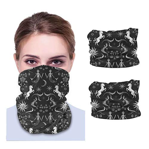 SLHFPX Unicorn, Mermaid, Stars and Sun Neck Gaiter Face Mask Set of 2 Bandana Anti-Dust Marks Windproof Neck Warmer for Outdoor Sports