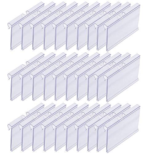 Etiquetas de Plástico para Estanterías Soportes de Etiquetas de Plástico Transparente para Etiquetado de Boletos de Precio Minorista, Centro Comercial, Tienda, 10 * 4,2 cm, Transparente, 30 Piezas ✅