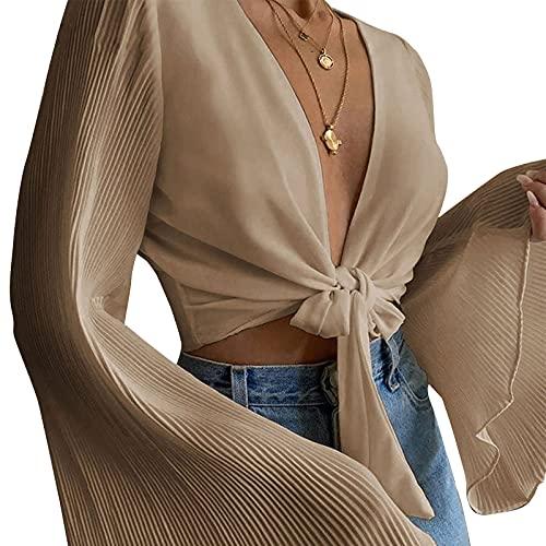 YILEEGOO Blusa de color sólido para mujer, mangas largas acampanadas y escote profundo en la parte superior, blanco/verde/caqui, caqui, S