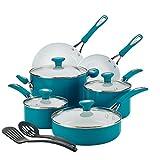 SilverStone Ceramic Nonstick Cookware Pots and Pans Set, 12 Piece, Marine Blue