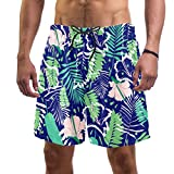 Tropical Palm Leaf Bañador para hombre con bolsillos, bañador de playa de secado rápido, elástico con cintura Multicolor multicolor XXL