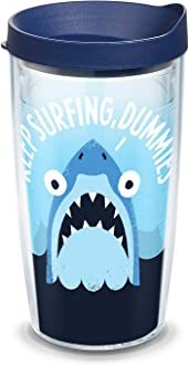 Tervis 1184393 Florida 16oz Shark Tooth Venice Insulated Tumbler with Wrap and Lime Green Lid Clear