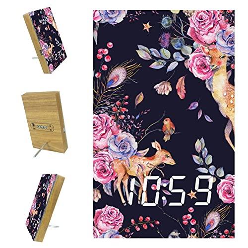 EZIOLY Deer Rose - Reloj despertador digital con indicador de tiempo y fecha, luz LED, resina de madera, funciona con USB, funciona con pilas, ahorro de energía para dormitorio y oficina