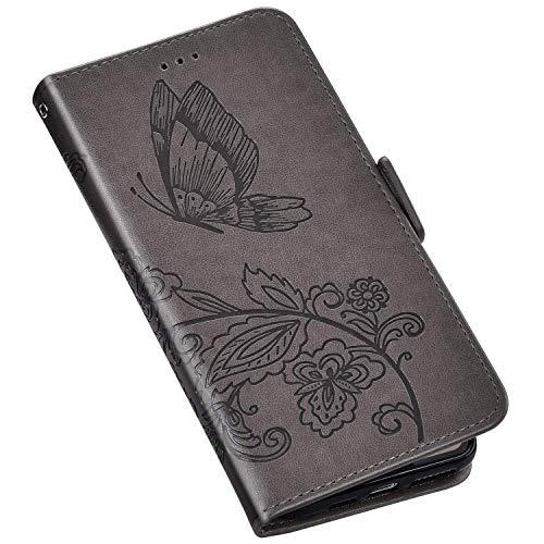QPOLLY Kompatibel mit Samsung Galaxy A10/M10 Hülle Leder Tasche Brieftasche Flip Wallet Case Schutzhülle Handyhülle Schmetterling Blumen Muster Klapphülle mit Standfunktion für Galaxy A10/M10,Grau