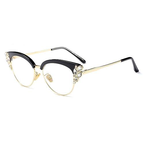 5a6aa62112be Women Cat Eye Rhinestone Glasses Metal Frame Luxury Eyeglasses Female  Fashion