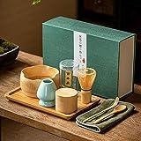 RedKids Accessoire de cérémonie du Matcha Japonais, Fouet au Matcha (Chasen), cuillère Traditionnelle (chashaku), cuillère à thé, Porte-Fouet, l'ensemble Coffret Cadeau Japonais pour Machine à Thé
