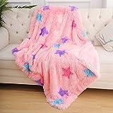 ST. BRIDGE Faux Fur Throw Blanket for Kids, Super Soft Lightweight Shaggy Stars Pattern Fuzzy Blanket Warm Cozy Plush Fluffy Decorative Blanket for Kids Boys Girls(30'x40', Pink)