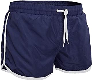 FKSESG Pants Mens Summer Swim Trunks Solid Color Athletic Beach Short Pants