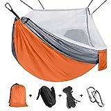 Viaje y Camping Hamaca, Mosquitero Hamaca Ultra Ligera para Viaje y Camping Nylon Portátil Paracaídas Secado Rápido para Excursión Jardín 110'(L) x 59'(W) (Orange/Grey)