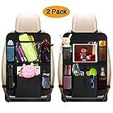 Organiseur de siège arrière de voiture avec support de tablette tactile + 5 poches de rangement pour jouets, livres, bouteilles, boissons, tapis de protection de dossier de siège de voiture, excellent accessoire de voyage pour enfants et tout-petits, 2 Pack