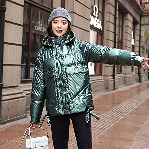 WJFGGXHK Women'S Down Jackets,Hooded With Zipper Loose Padded Shiny Design Green Puffer Jacket Winter Lightweight Outdoor Warm Coat Long Sleeve Outerwear Down Cotton Jacket For Adult Women