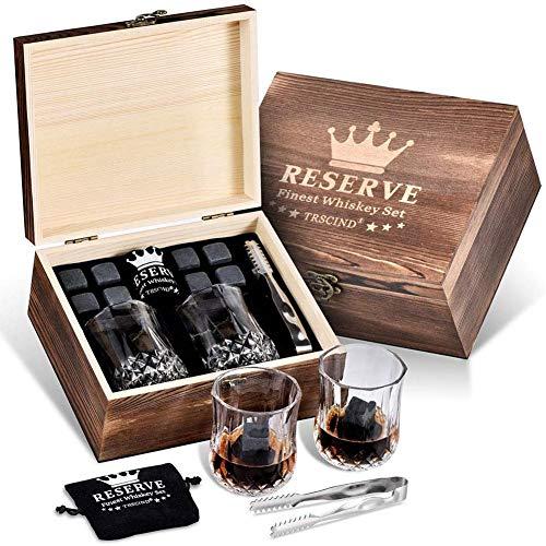 Pierres de refroidissement artisanales Avec boîte bois Bloc de glace Bloc glace en Whiskey unique Coffret Cadeau Whisky Stones Congélation Luxueux pour le cadeau père ami Roches naturelles de basalte