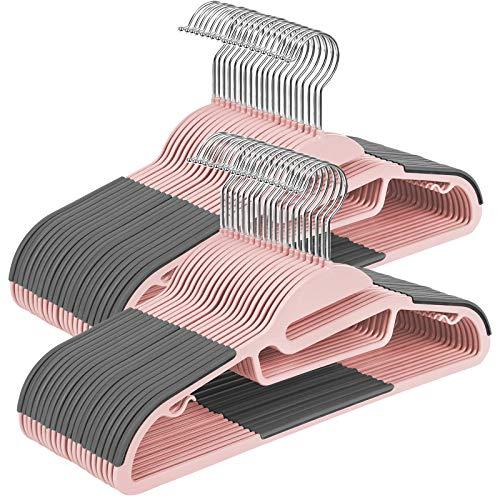 SONGMICS Set di 50 Grucce in Plastica, Grucce con Apertura a Forma di S, Antiscivolo e Salvaspazio, Spessore di 0,5 cm, Lunghezza di 41,5 cm, con Gancio Girevole a 360°, Grigio Scuro e Rosa CRP041P02