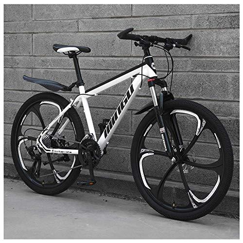 Bicicleta de montaña de 24 pulgadas, para hombre y mujer, bicicleta de acero al carbono, 30 velocidades, bicicleta de montaña todo terreno con freno de disco dual, color blanco 6 radios