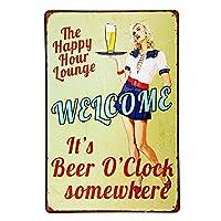 楽しい時間へようこそビールタイムレトロカントリー金属スズマークバーウォールディールアート8x12インチ