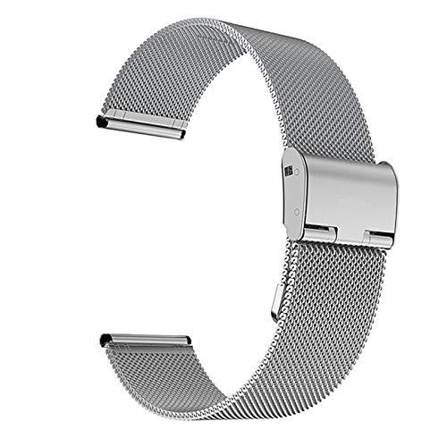 CGGA 22 mm 20 mm de Reloj de Reloj para Samsung Galaxy Watch Active 2 Band para Samsung Gear S3 Strap para Samsung Galaxy Watch 42mm 46mm Reloj de Reloj (Band Color : Silver, Band Width : 22mm)