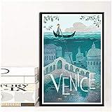 W15Y8 Famosa Ciudad Turística De Venecia, Berlín, Lienzo De Pintura, Póster, Decoración Para Sala De Estar, Decoración Del Hogar, Impresión En Lienzo-50X70Cm Sin Marco