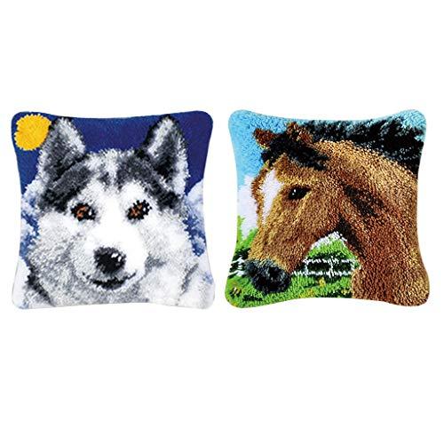 dailymall 2 Set Kits de Gancho de Seguridad Almohada DIY Patrón de Animales Suministros de Costura Hechos a Mano