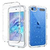 GUAGUA iPod Touch 7 Generation Case, iPod Touch 6/5 Case Crystal Clear Glitter Bling Sparkle Hybrid 3 in 1 Hard PC Soft TPU Bumper Cover Shockproof Protective Cases for iPod Touch 7/6/5 Transparent
