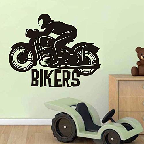 73x58cm Motorrad Racer Vinyl Kleber Wandaufkleber Lustige Biker Schlafzimmer Dekorieren Wandtattoo Kinderzimmer Home Decor