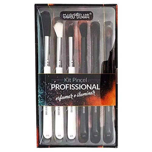 kit de pinceis profissional esfumar e iluminar macrilan wb 500