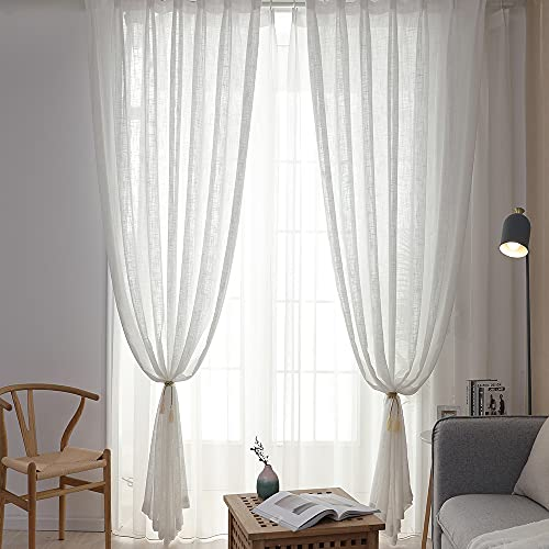 White Sheer Curtains Living Room Voile Pinch Pleated Window Treatments Elegant Light Filtering Dining Room Drapes Semi Privacy Curtain Bedroom Lightweight 1 Panel W43 x 63 Inch Length