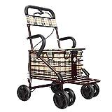 Trolley El asiento plegable del carrito de la compra de scooter de vieja generación puede sentarse sobre cuatro ruedas para ir de compras y puede empujar pequeño para los ancianos.La carga máxima e