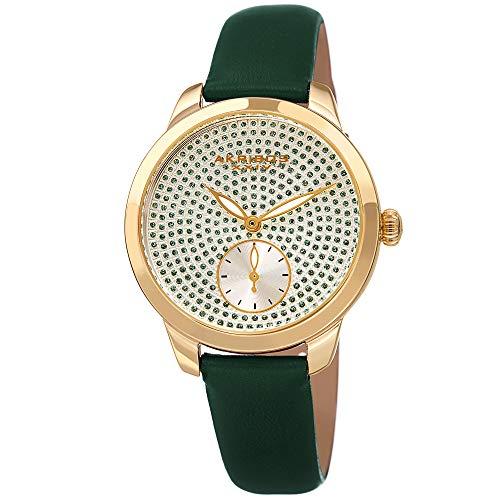 Akribos AK1089 - Reloj de Pulsera para Mujer (Correa de Piel Suave), diseño de Lunares con Purpurina (Reloj)