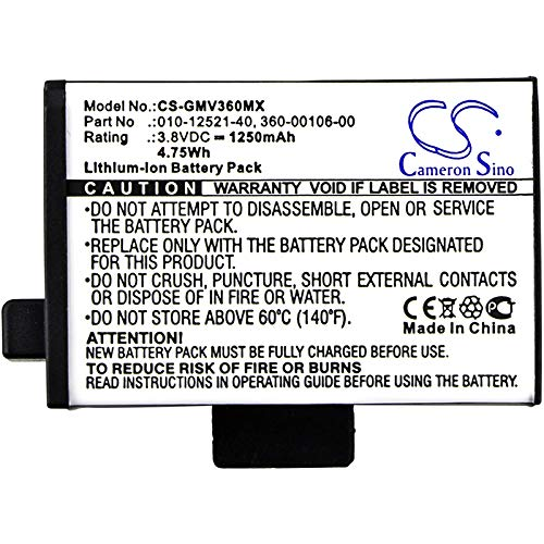 High Capacity 1250mAh / 4.75Wh Replacement Battery for Garmin Virb 360 010-12521-40, 360-00106-00, 361-00106-00