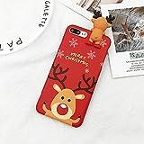 LUOKAOO Merry Christmas Couples Phone Case para iPhone XR XS MAX 11 6 6s 7 8 Plus X Cartoon Snowman & amp;Ciervos Soft Back Cover Estuches Gift, T1, para iPhone 11 Pro