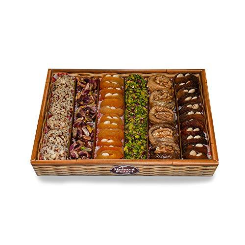 Palanci | Gesunde Snacks Mix Geschenkekorb | 800 gr. | vegane Süssigkeiten Mix | zuckerarm | getrocknete Aprikosen, Pistazien, Mandeln, Feigen mit Walnüsse | Trockenfrüchte | Geschenkset | Snackbox